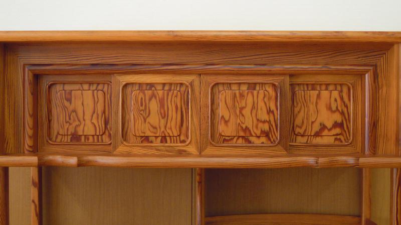 松の飾り棚3.5尺 上部4枚の引き戸