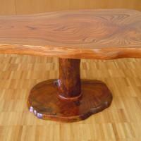 欅1本足テーブルセット テーブル