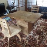 栗の炉付きテーブル
