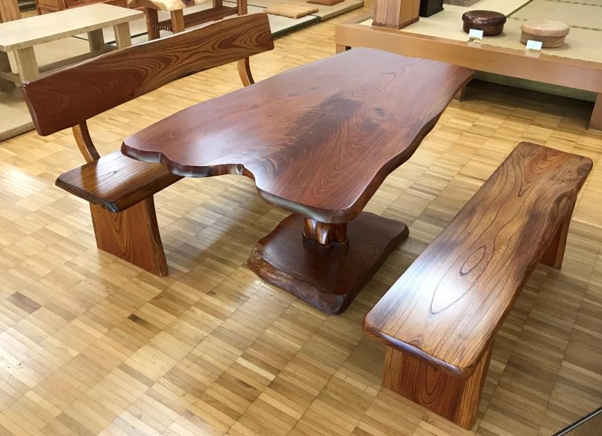 ケヤキのダイニングテーブルセット